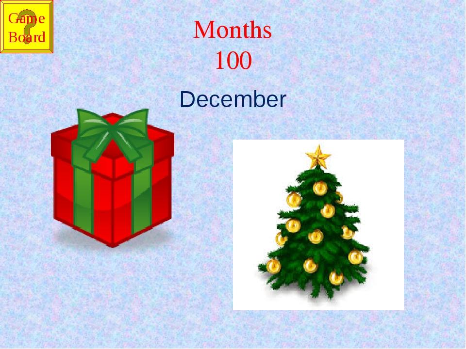 Months 100 December Game Board