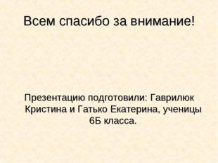 Всем спасибо за внимание! Презентацию подготовили: Гаврилюк Кристина и Гатько