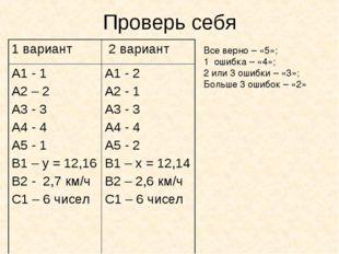 Проверь себя Все верно – «5»; 1 ошибка – «4»; 2 или 3 ошибки – «3»; Больше 3