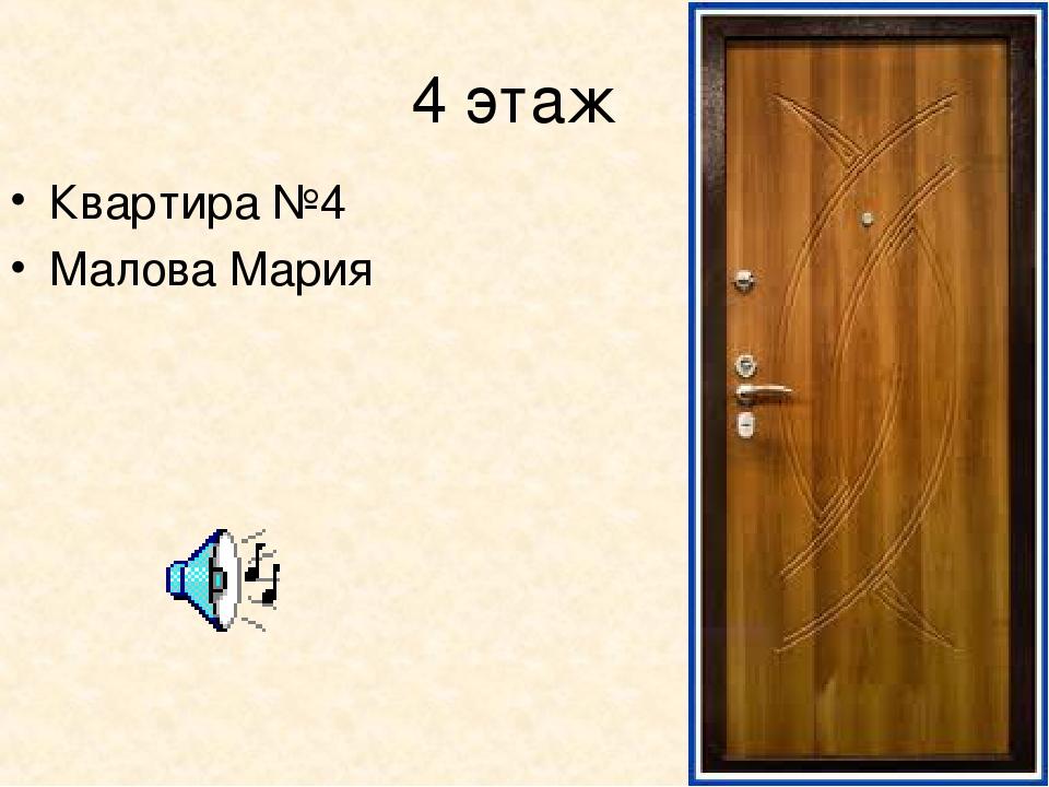 4 этаж Квартира №4 Малова Мария