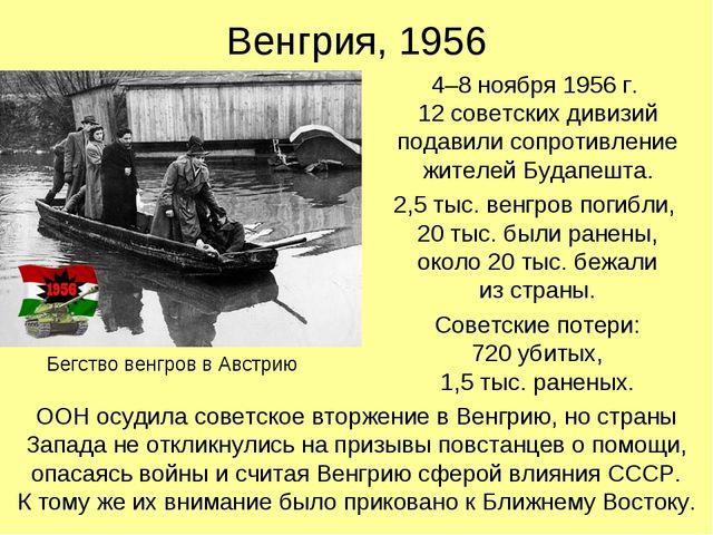 Венгрия, 1956 4–8 ноября 1956 г. 12 советских дивизий подавили сопротивление...