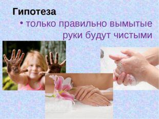 Гипотеза только правильно вымытые руки будут чистыми
