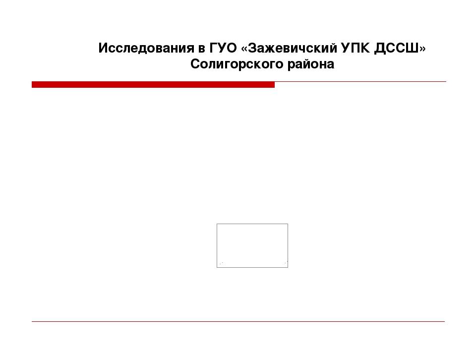 Исследования в ГУО «Зажевичский УПК ДССШ» Солигорского района