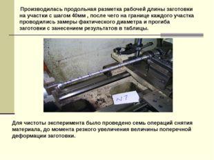 Производилась продольная разметка рабочей длины заготовки на участки с шагом