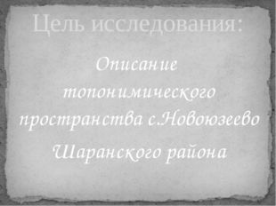 Описание топонимического пространства с.Новоюзеево Шаранского района Цель исс