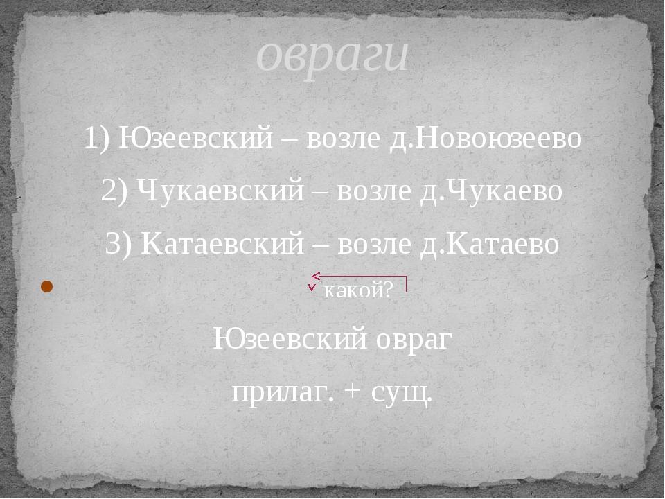 1) Юзеевский – возле д.Новоюзеево 2) Чукаевский – возле д.Чукаево 3) Катаевск...