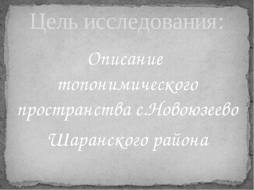 Описание топонимического пространства с.Новоюзеево Шаранского района Цель исс...