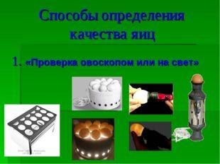 Способы определения качества яиц 1. «Проверка овоскопом или на свет»