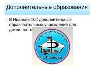 Дополнительные образования В Иванове 102 дополнительных образовательных учреж