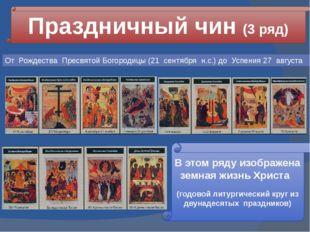 Праздничный чин (3 ряд) В этом ряду изображена земная жизнь Христа (годовой л