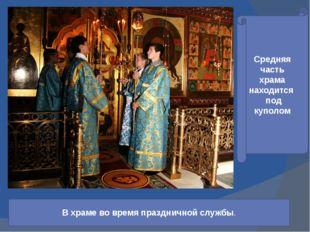 Средняя часть храма находится под куполом В храме во время праздничной службы.