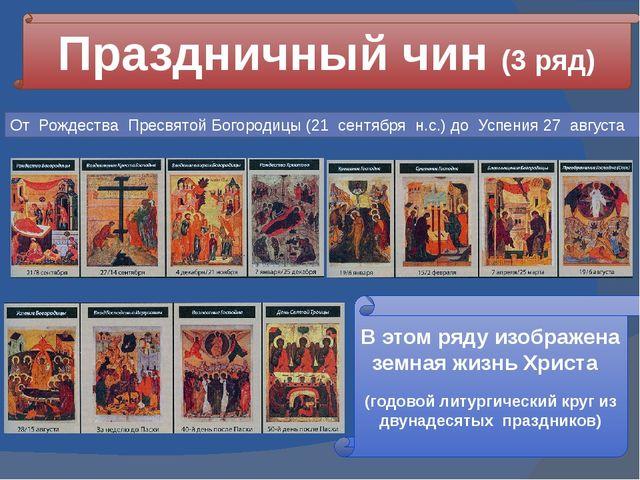 Праздничный чин (3 ряд) В этом ряду изображена земная жизнь Христа (годовой л...