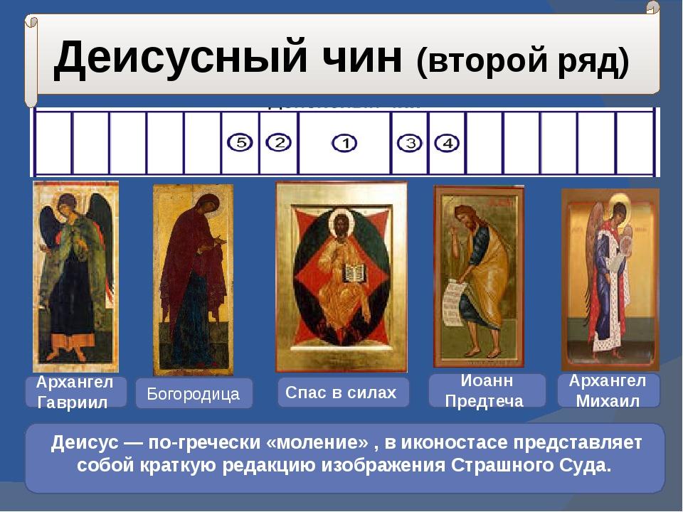 Деисусный чин (второй ряд) Деисус — по-гречески «моление» , в иконостасе пред...