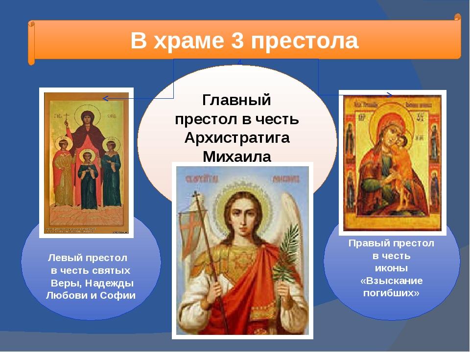 В храме 3 престола Левый престол в честь святых Веры, Надежды Любови и Софии...