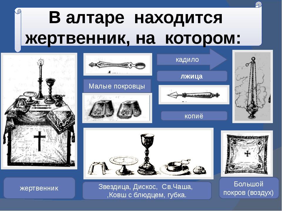 В алтаре находится жертвенник, на котором: Малые покровцы копиё лжица жертвен...