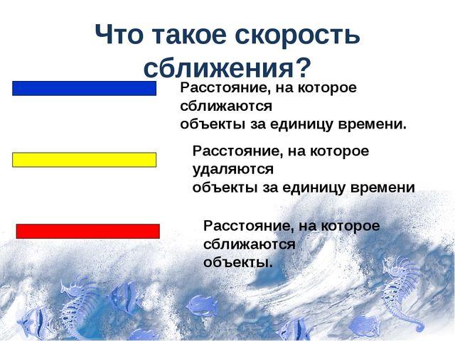Что такое скорость сближения? Расстояние, на которое сближаются объекты за ед...