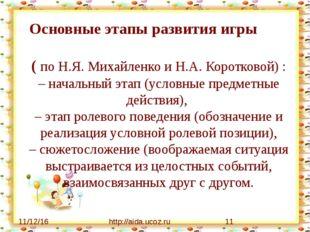 http://aida.ucoz.ru Основные этапы развития игры ( по Н.Я. Михайленко и Н.А.
