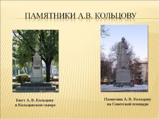Бюст А. В. Кольцову в Кольцовском сквере Памятник А. В. Кольцову на Советской