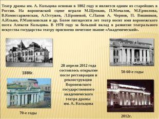 Театр драмы им. А. Кольцова основан в 1802 году и является одним из старейших