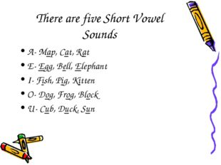 There are five Short Vowel Sounds A- Map, Cat, Rat E- Egg, Bell, Elephant I-