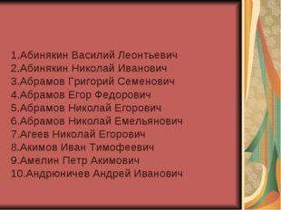 1.Абинякин Василий Леонтьевич 2.Абинякин Николай Иванович 3.Абрамов Григорий