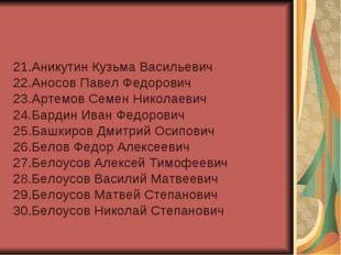 21.Аникутин Кузьма Васильевич 22.Аносов Павел Федорович 23.Артемов Семен Нико