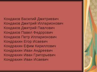 Кондаков Василий Дмитриевич Кондаков Дмитрий Илларионович Кондаков Дмитрий Па