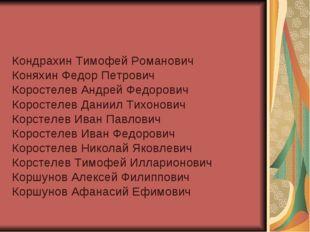 Кондрахин Тимофей Романович Коняхин Федор Петрович Коростелев Андрей Федорови