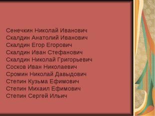 Сенечкин Николай Иванович Скалдин Анатолий Иванович Скалдин Егор Егорович Ска