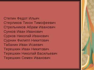 Степин Федот Ильич Стерликов Тихон Тимофеевич Стрельников Абрам Иванович Сунк