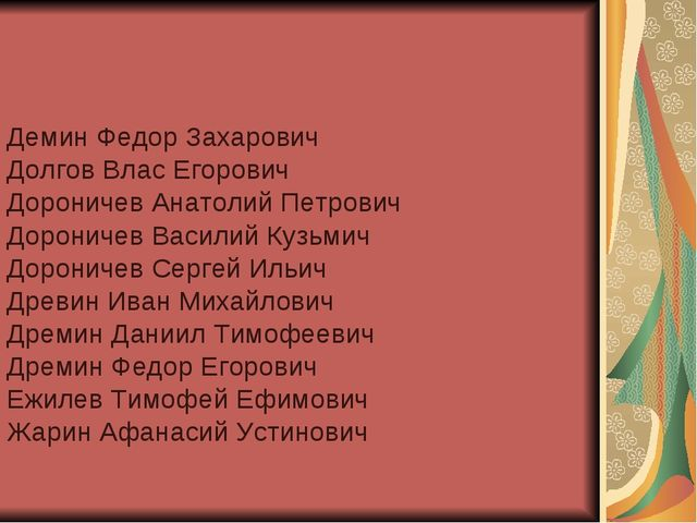 Демин Федор Захарович Долгов Влас Егорович Дороничев Анатолий Петрович Дорони...