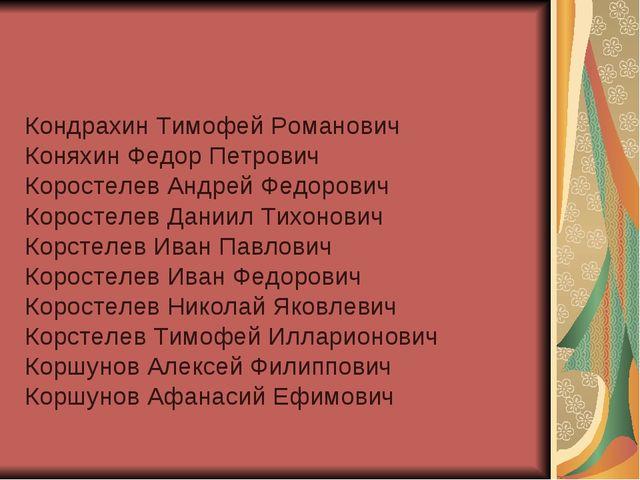 Кондрахин Тимофей Романович Коняхин Федор Петрович Коростелев Андрей Федорови...
