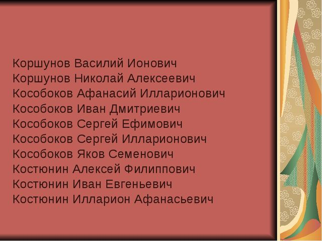 Коршунов Василий Ионович Коршунов Николай Алексеевич Кособоков Афанасий Иллар...