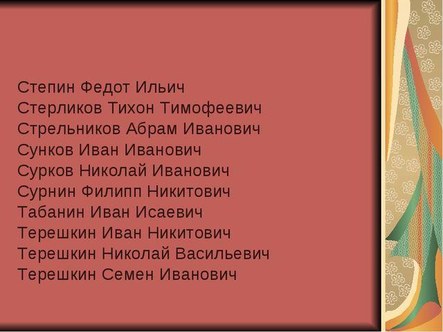 Степин Федот Ильич Стерликов Тихон Тимофеевич Стрельников Абрам Иванович Сунк...