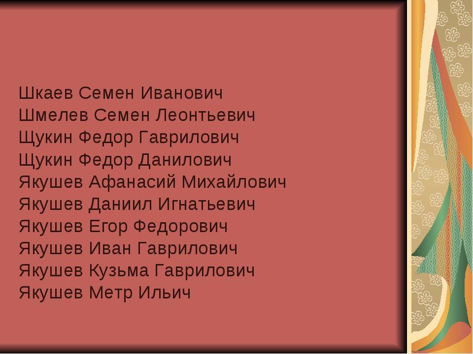 Шкаев Семен Иванович Шмелев Семен Леонтьевич Щукин Федор Гаврилович Щукин Фед...