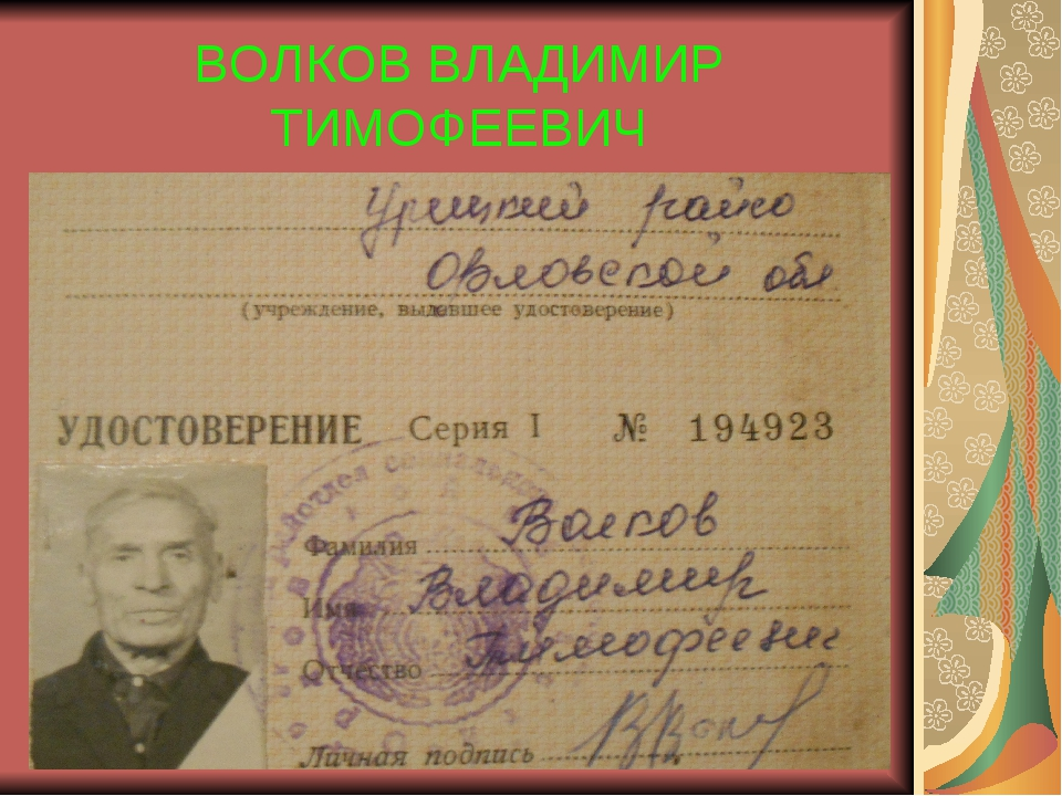 ВОЛКОВ ВЛАДИМИР ТИМОФЕЕВИЧ