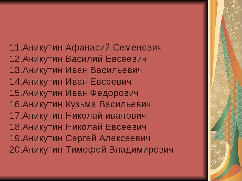 11.Аникутин Афанасий Семенович 12.Аникутин Василий Евсеевич 13.Аникутин Иван...