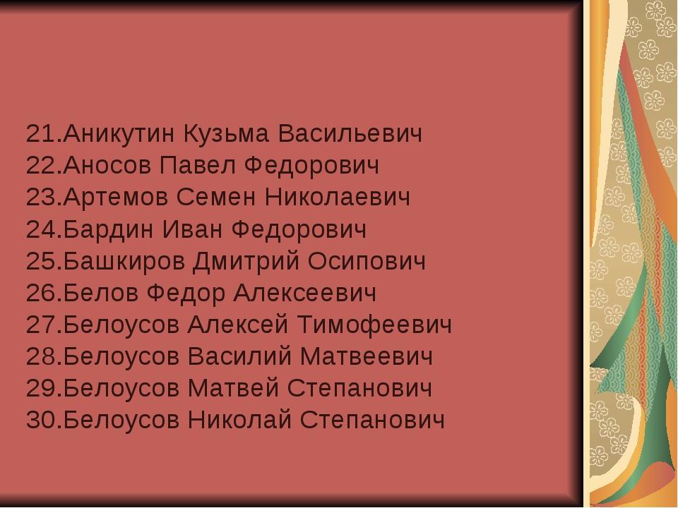 21.Аникутин Кузьма Васильевич 22.Аносов Павел Федорович 23.Артемов Семен Нико...