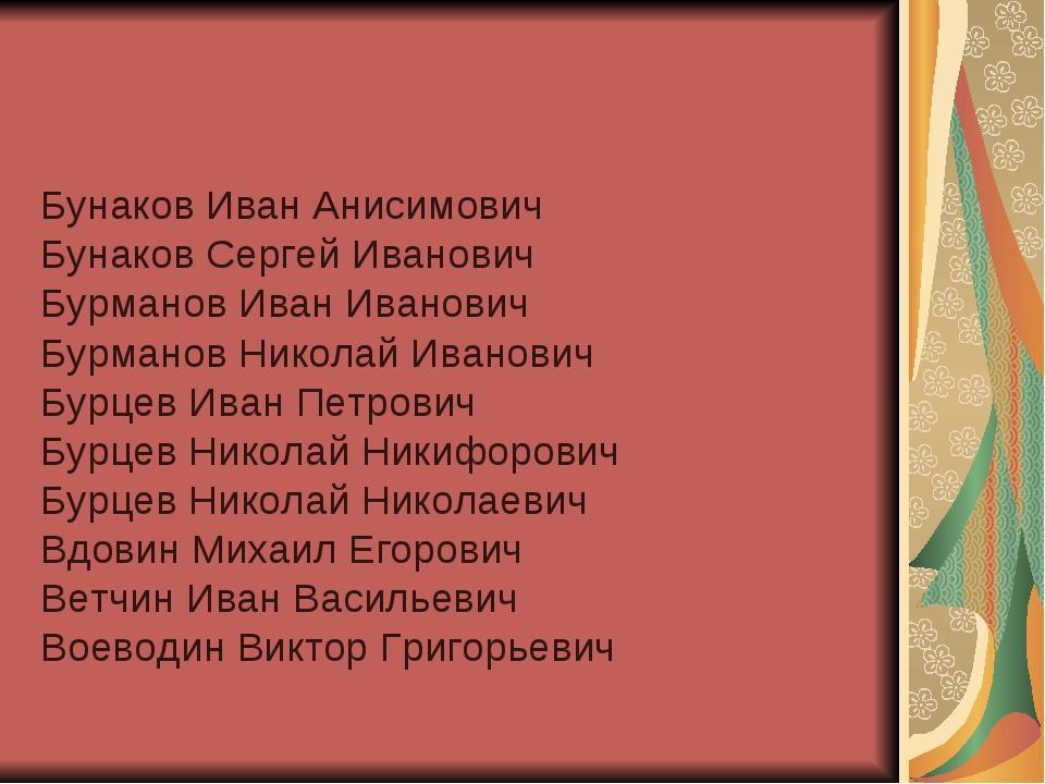 Бунаков Иван Анисимович Бунаков Сергей Иванович Бурманов Иван Иванович Бурман...