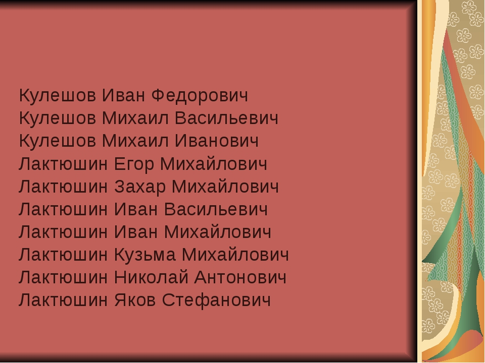 Кулешов Иван Федорович Кулешов Михаил Васильевич Кулешов Михаил Иванович Лакт...