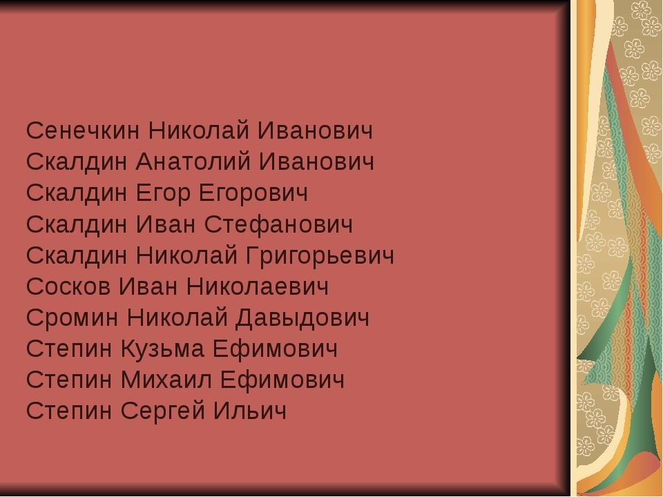 Сенечкин Николай Иванович Скалдин Анатолий Иванович Скалдин Егор Егорович Ска...