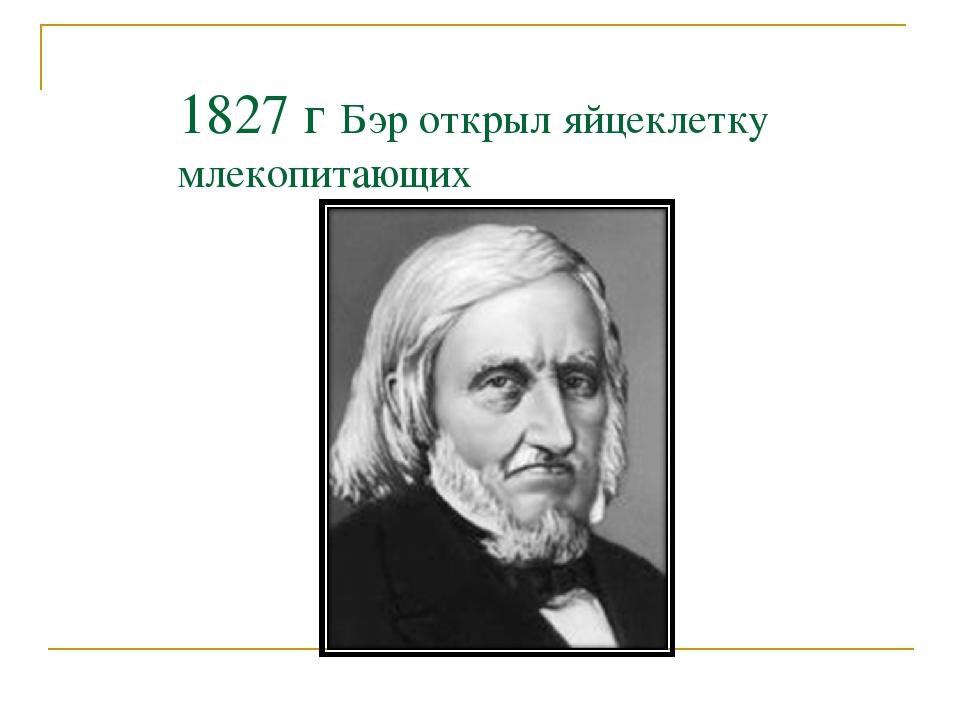 1827 г Бэр открыл яйцеклетку млекопитающих