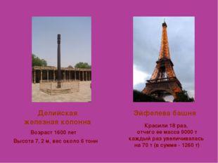 Делийская железная колонна Эйфелева башня Высота 7, 2 м, вес около 6 тонн Воз