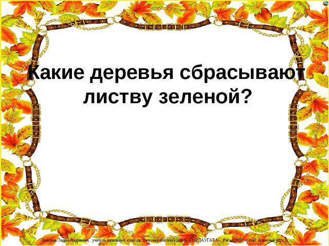 Какие деревья сбрасывают листву зеленой? Лазарева Лидия Андреевна, учитель н...