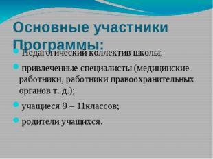 Основные участники Программы: Педагогический коллектив школы; привлеченные с