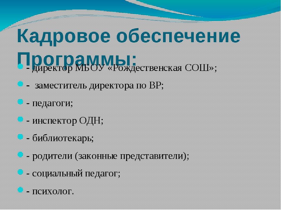 Кадровое обеспечение Программы: - директор МБОУ «Рождественская СОШ»; - замес...