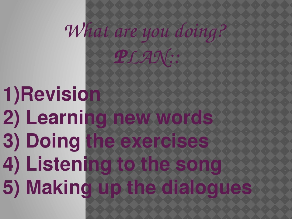 What are you doing? PLAN:: 1)Revision 2) Learning new words 3) Doing the exer...