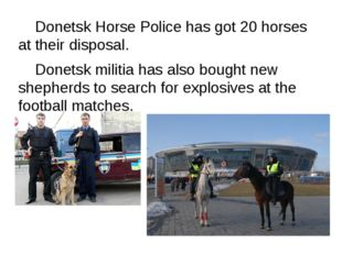 Donetsk Horse Police has got 20 horses at their disposal. 	Donetsk militia h