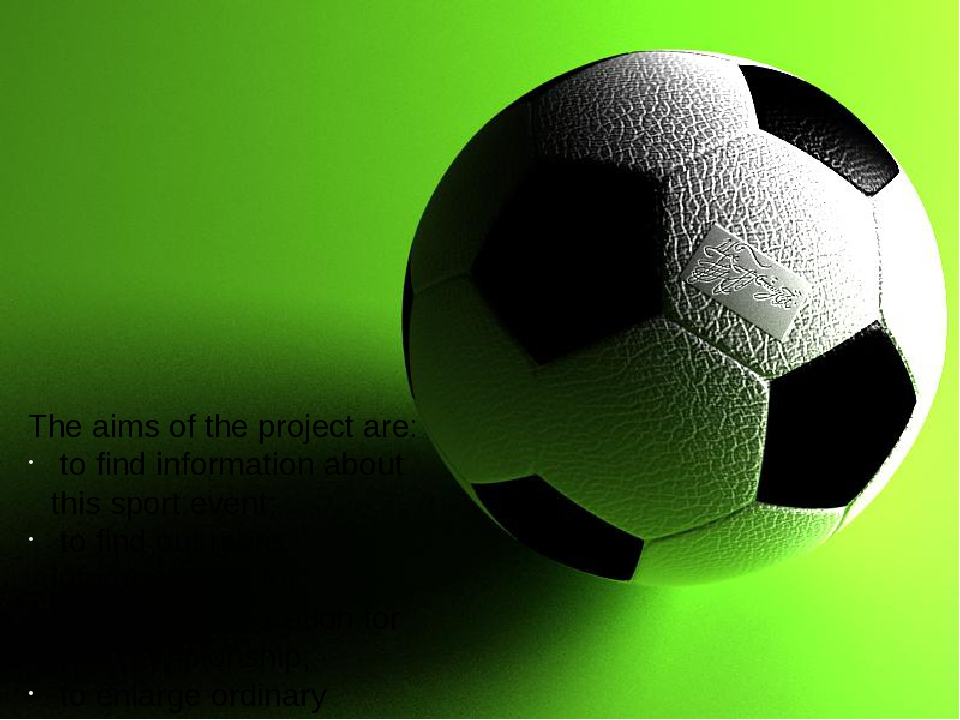The aims of the project are: to find information about this sport event; to...