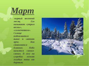 Март -первый весенний месяц. Его называют «утром весны», «солнечником». Солнц